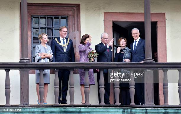 Mayor of Leipzig Burkhard Jung and his wife Ayleena pictured with King Carl XVI Gustaf and Queen Silvia of Sweden and premier of Saxony Stanislaw...