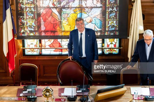 Mayor of LevalloisPerret Patrick Balkany attends a city council meeting at the city hall of LevalloisPerret west of Paris on July 1 2019 Balkany on...