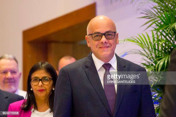 Mayor of Libertador municipality in Caracas and the leader of the progovernment United Socialist Party of Venezuela Jorge Rodriguez before a press...