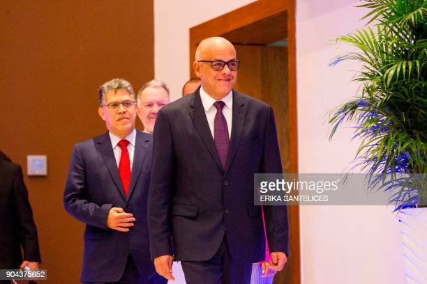 Mayor of Libertador municipality in Caracas and the leader of the progovernment United Socialist Party of Venezuela Jorge Rodriguez enter a press...