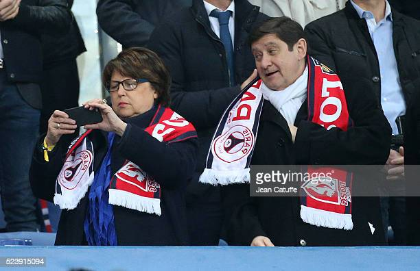 Mayor of Lille Martine Aubry and French Minister of Sports Patrick Kanner attend the French League Cup final between Paris SaintGermain and Lille OSC...