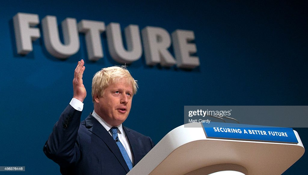 Mayor of London Boris Johnson addresses the Conservative Party Conference in the main hall of the ICC Birmingham on on September 30, 2014 in Birmingham, England. The third day of conference will see speeches on home affairs and justice.