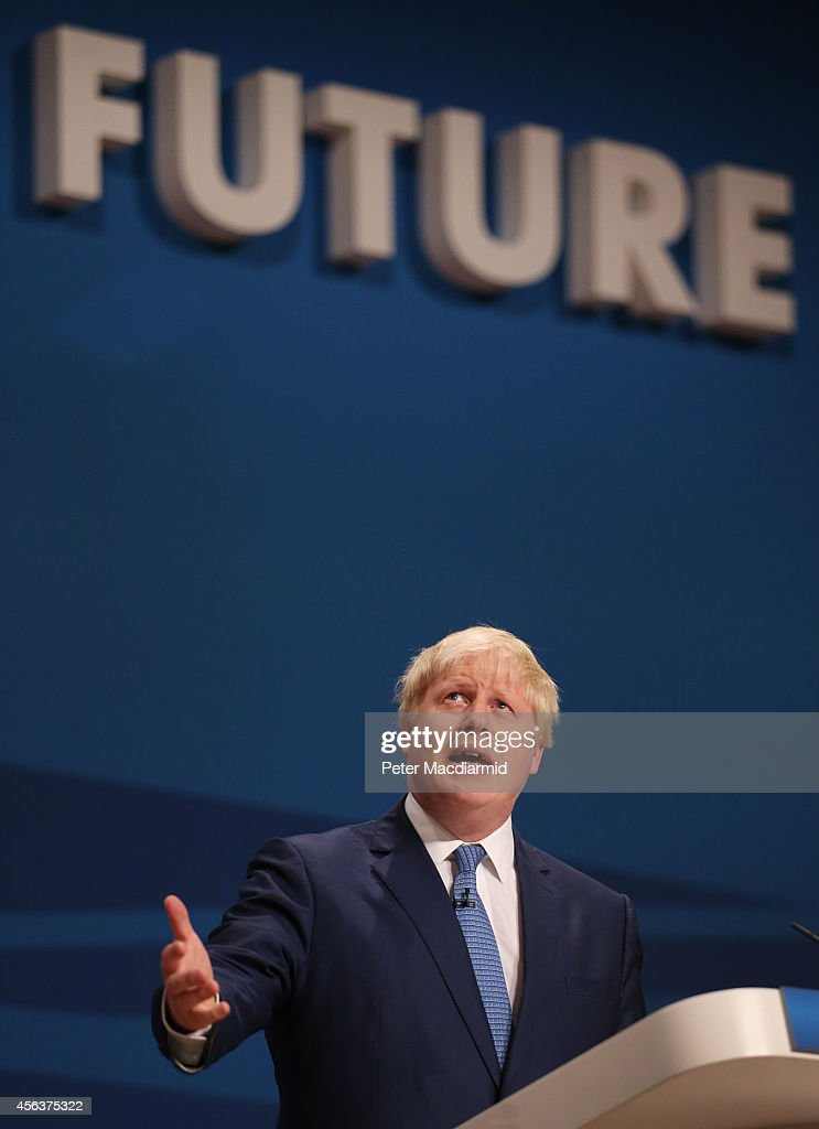 Mayor of London Boris Johnson addresses the Conservative party conference on September 30, 2014 in Birmingham, England. The third day of conference will see speeches on home affairs and justice.
