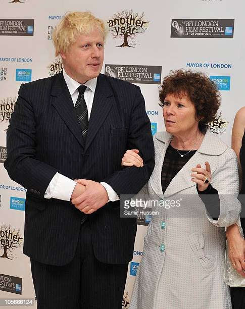 Mayor of London Boris Johnson and actress Imelda Staunton attend the Another Year premiere during the 54th BFI London Film Festival at the Odeon...