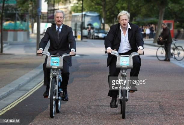 Mayor of London Boris Johnson and Barclays Chairman Marcus arrive for a photocall at the launch of London's first ever cycle hire scheme on July 30...