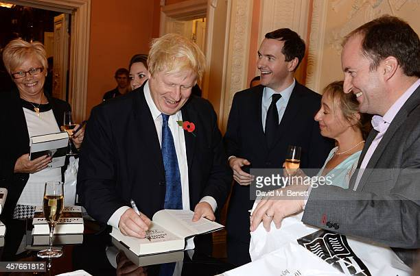 """Mayor of London Boris Johnson and George Osborne, Chancellor of the Exchequer, attends the launch of Boris Johnson's new book """"The Churchill Factor:..."""