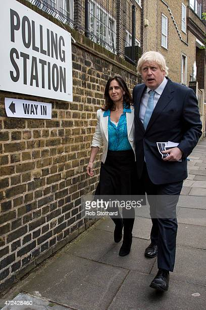 Mayor of London Boris Johnson and his wife Marina Wheeler leave a polling station after voting in the London Borough of Islington on May 7 2015 in...