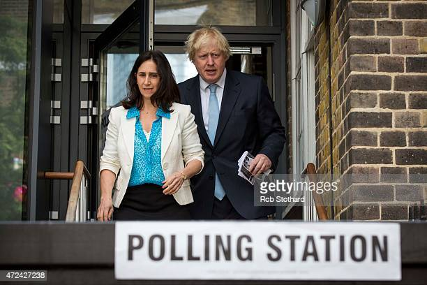 Mayor of London Boris Johnson and his wife Marina Wheeler leave after voting at a polling station in the London Borough of Islington on May 7 2015 in...