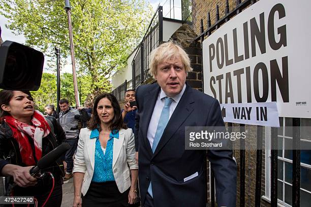 Mayor of London Boris Johnson and his wife Marina Wheeler leave after voting at a polling station in the London Borough of Islington on May 7, 2015...