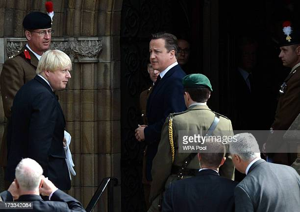 Mayor of London Boris Johnson and Prime Minister David Cameron arrive for the funeral service of Fusilier Lee Rigby at Bury Parish Church on July 12...