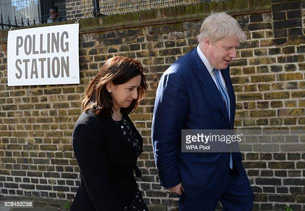 Mayor of London Boris Johnson and wife Marina leave after casting their votes at a polling station in Islington on May 5 2016 in London United...