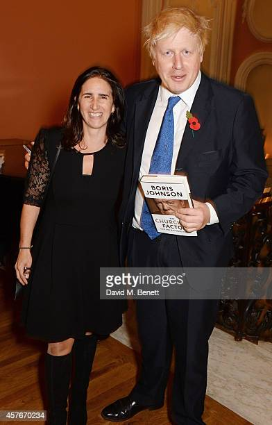 Mayor of London Boris Johnson and wife Marina Wheeler attend the launch of Boris Johnson's new book The Churchill Factor How One Man Made History at...