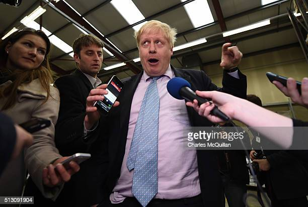 Mayor of London Boris Johnson answers questions from the media about the upcoming EU referendum as he visited Boomer Industries on February 29 2016...