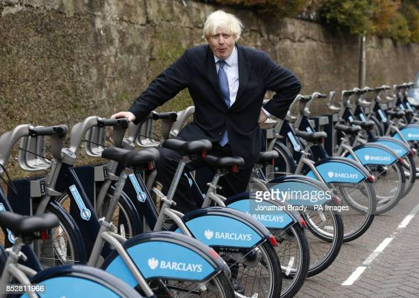 Mayor of London Boris Johnson at Wandsworth Bridge at the launch of the expansion of the Barclays Cycle Hire scheme to Wandsworth Town south London