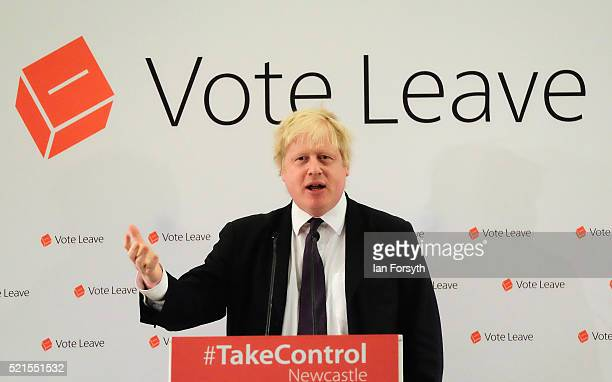 Mayor of London Boris Johnson delivers a speech at a 'Vote Leave' rally at the Centre for Life on April 16, 2016 in Newcastle upon Tyne, England....