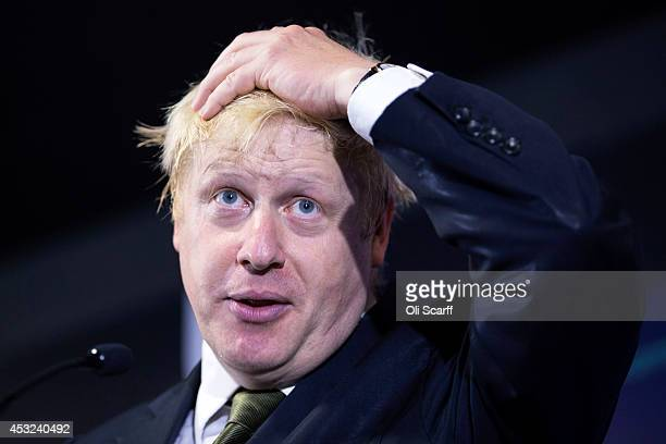 Mayor of London Boris Johnson delivers a speech in Bloomberg's European headquarters on Britain's involvement in the EU on August 6 2014 in London...