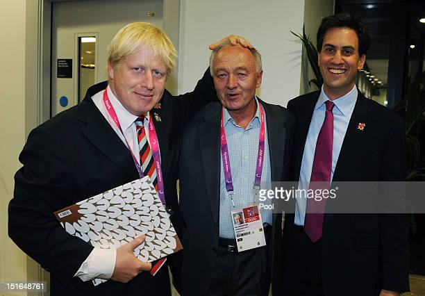 Mayor of London Boris Johnson former mayor Ken Livingstone and Labour leader Ed Miliband pose at the Olympic Stadium as they attend the closing...