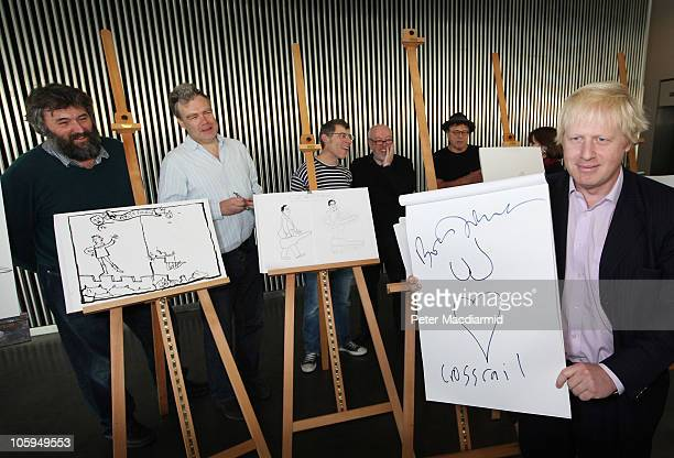 Mayor of London Boris Johnson holds up a drawing watched by cartoonists Steve Bell, Charles Peattie, Tim Sanders, Peter Brookes and Michael Heath at...
