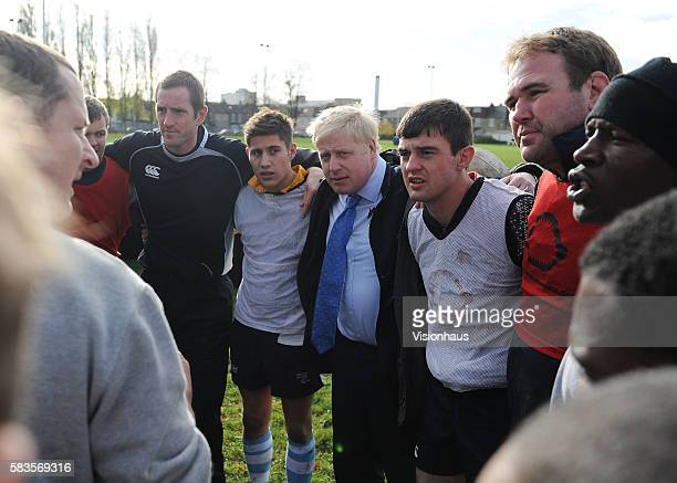 Mayor of London Boris Johnson joins in with one of the coaching sessions during filming of the Sky Sports 1 programme School of Hard Knocks Presented...
