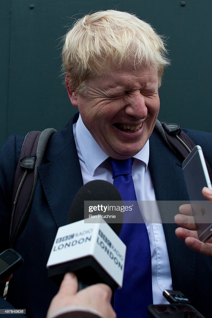 Mayor of London Boris Johnson laughs as he is interviewed by journalists at the launch of London's first cycle superhighway on November 19, 2015 in London, England. Superhighway 5 (CS5) is the capital's first two lane fully segregated cycle superhighway.