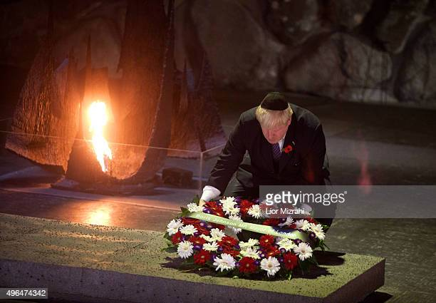 Mayor of London Boris Johnson lays a wreath at the Hall of Remembrance as he visits the Yad Vashem Holocaust Memorial museum on November 10 2015 in...