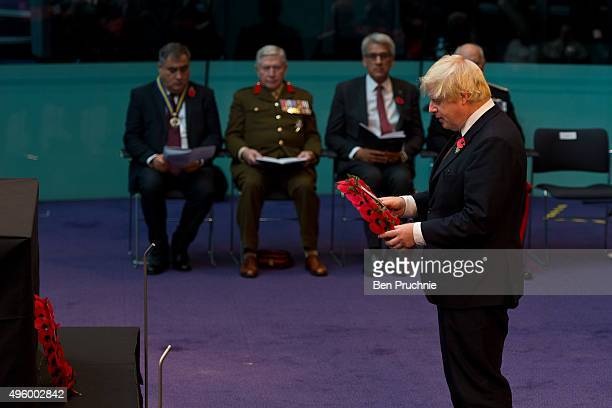 Mayor of London Boris Johnson lays a wreath during the annual GLA remembrance service in City Hall on November 6 2015 in London England The service...