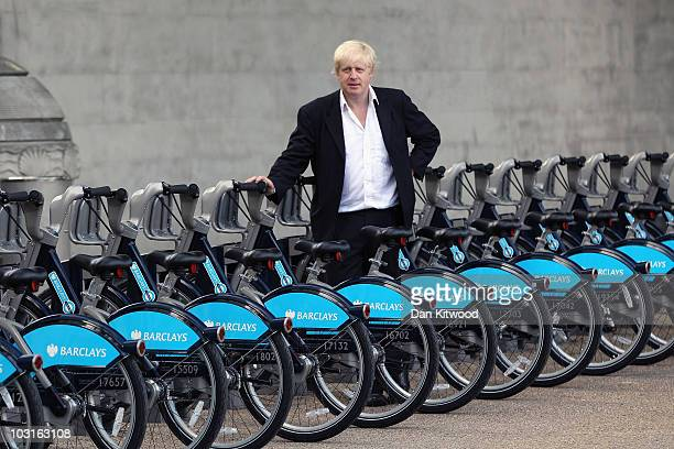 Mayor of London Boris Johnson poses for a photograph at the launch of London's first ever cycle hire scheme on July 30 2010 in London England It is...