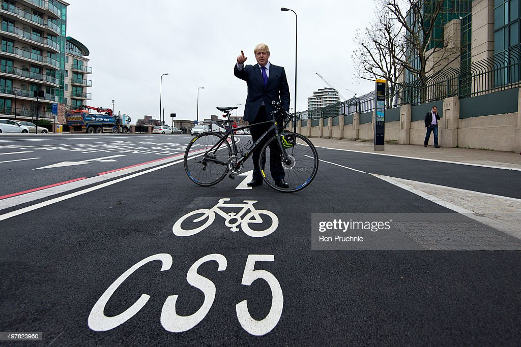 Mayor of London Boris Johnson poses for photographs at the launch of London's first cycle superhighway on November 19, 2015 in London, England. Superhighway 5 (CS5) is the capital's first two lane fully segregated cycle superhighway.