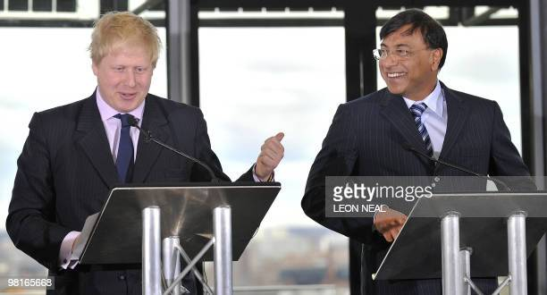 Mayor of London Boris Johnson shares a joke with the Chairman and CEO of ArcelorMittal Lakshmi Mittal during the launch of the ArcelorMittal Orbit...