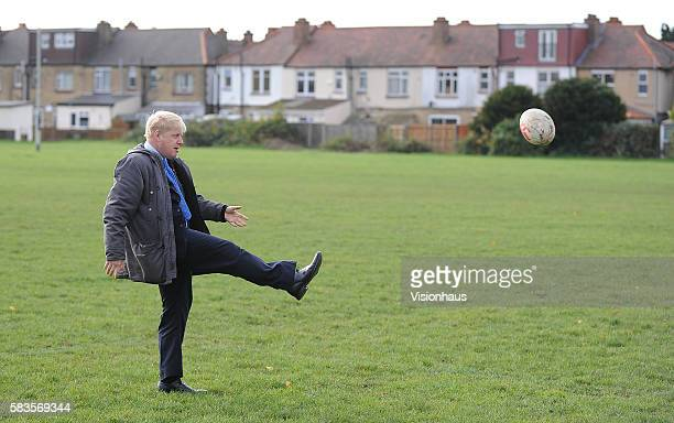 Mayor of London Boris Johnson shows of his rugby union skills during filming of the Sky Sports 1 programme School of Hard Knocks Presented by former...