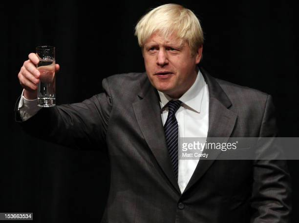 Mayor of London, Boris Johnson speaks at a rally for his supporters at the Conservative party conference at the International Convention Centre on...