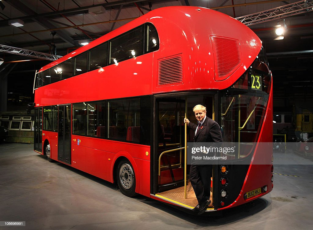 Boris Johnson Unveils A Mock Up Of The New Routemaster Bus : News Photo