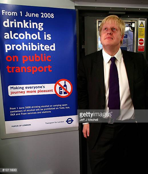 Mayor of London Boris Johnson stands on a tube train at Kensington on May 7, 2008 in England. Mr Johnson announced plans to rapidly deliver his key...