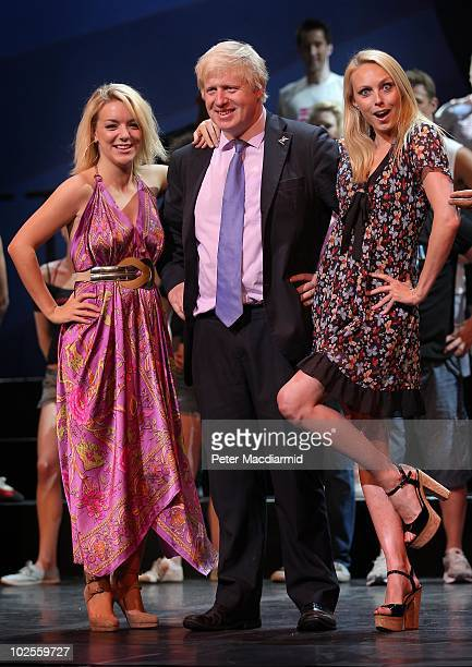 Mayor of London Boris Johnson stands onstage with Legally Blonde star Sheridan Smith and Dance Champion Camilla Dallerup at the launch of the TMobile...