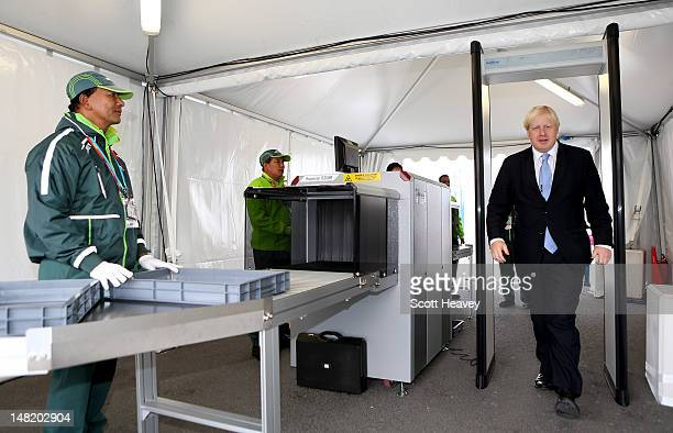 Mayor of London Boris Johnson visits the Olympic Park and Olympic Village on July 12, 2012 in London, England.
