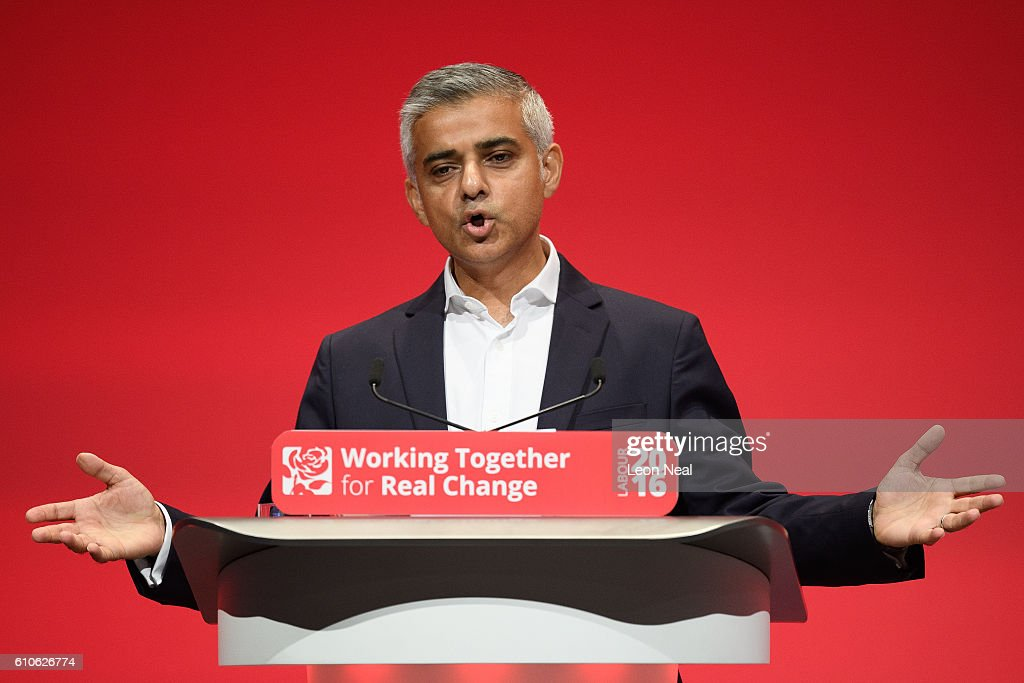 Mayor of London Sadiq Khan addresses delegates at the Labour Party conference on September 27, 2016 in Liverpool, England. On day three of the annual conference at the ACC, shadow education secretary Angela Rayner is to set out the party's policy on childcare and that 'every parent should have the right to quality, affordable childcare'. Deputy leader Tom Watson will also deliver his keynote speech to delegates.