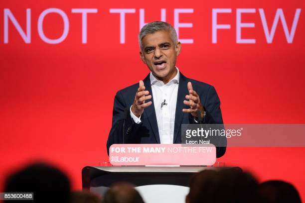 Mayor of London Sadiq Khan addresses delegates in the main hall on the second day of the Labour Party conference on September 25 2017 in Brighton...