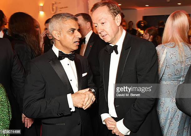 Mayor of London Sadiq Khan and Geordie Greig attend a cocktail reception at The 62nd London Evening Standard Theatre Awards recognising excellence...