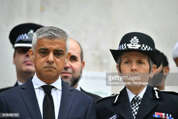 Mayor of London Sadiq Khan and Metropolitan Police Commissioner Cressida Dick attend a service at Islington Town Hall in London to mark oneyear...