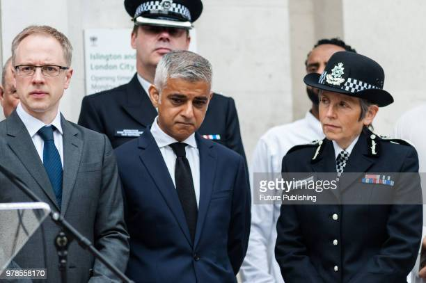 Mayor of London Sadiq Khan and Metropolitan Police commissioner Cressida Dick attend a commemoration event outside Islington Town Hall in north...