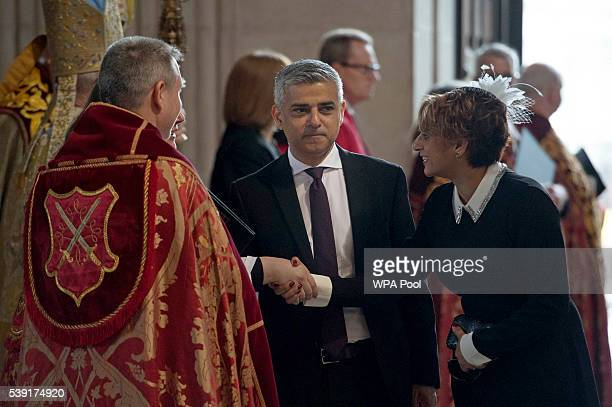 Mayor of London Sadiq Khan and Saadiya Khan arrive for a service of thanksgiving for Queen Elizabeth II's 90th birthday at St Paul's cathedral on...