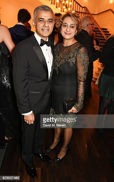 Mayor of London Sadiq Khan and Saadiya Khan attend a cocktail reception at The 62nd London Evening Standard Theatre Awards recognising excellence...