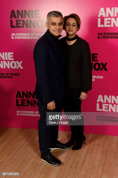 Mayor of London Sadiq Khan and Saadiya Khan attend 'Annie Lennox An Evening of Music and Conversation' at Sadler's Wells Theatre on March 4 2018 in...