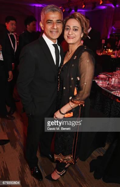 Mayor of London Sadiq Khan and Saadiya Khan attend The Asian Awards at Hilton Park Lane on May 5 2017 in London England
