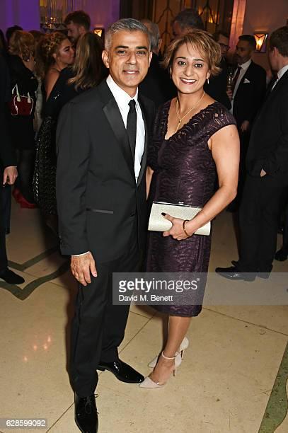 Mayor of London Sadiq Khan and Saadiya Khan attend The London Evening Standard British Film Awards at Claridge's Hotel on December 8 2016 in London...