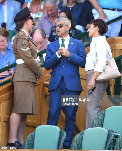 Mayor of London Sadiq Khan and Saadiya Khan attend the men's singles final on day thirteen of the Wimbledon Tennis Championships at the All England...