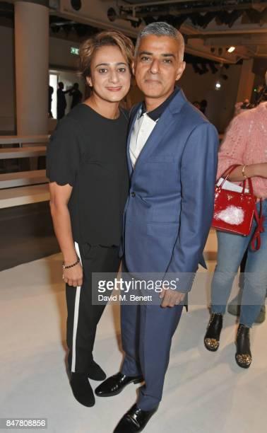 Mayor of London Sadiq Khan and Saadiya Khan pose backstage at the Molly Goddard SS18 catwalk show during London Fashion Week September 2017 at BFC...
