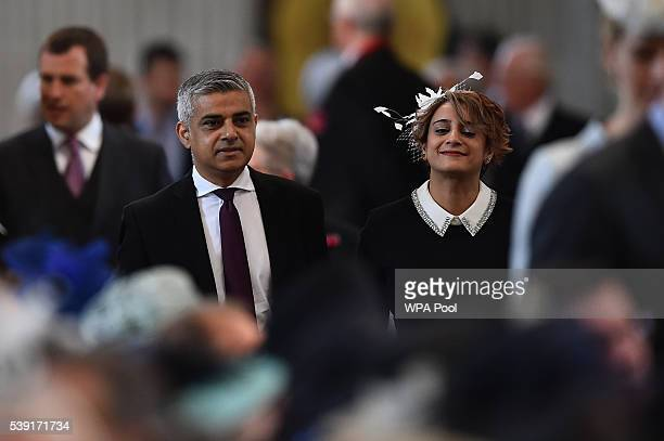 Mayor of London Sadiq Khan and wife Saadiya Khan arrive for a service of thanksgiving for Queen Elizabeth II's 90th birthday at St Paul's cathedral...