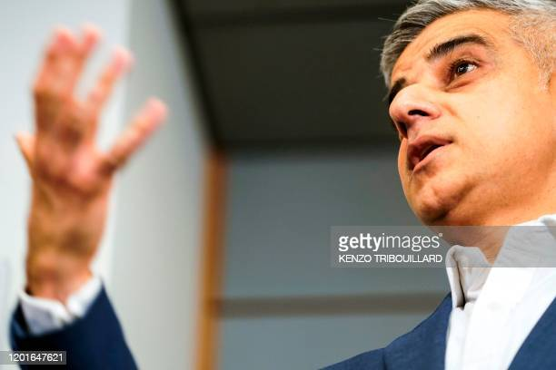 Mayor of London Sadiq Khan answer journalists questions after a meeting on February 18 2020 at the European Parliament in Brussels