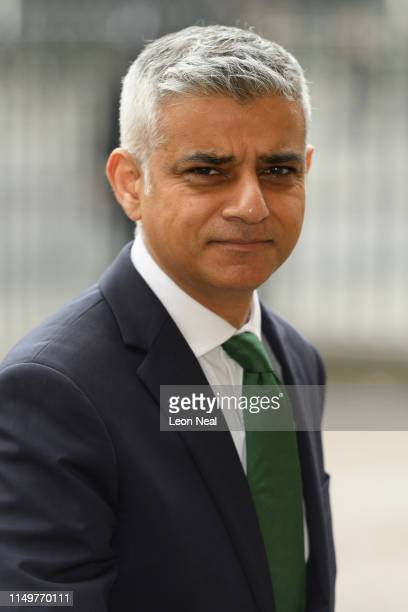 Mayor of London Sadiq Khan arrives at Westminster Abbey ahead of a special service to mark 100 years since women joined the force on May 17 2019 in...